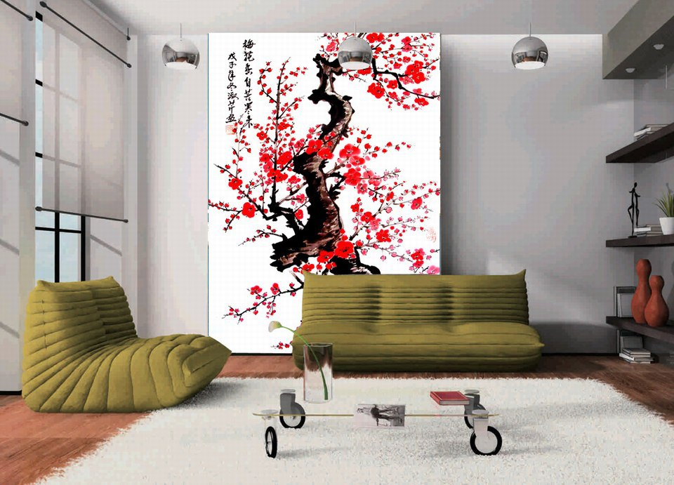 2016 Home Decor Rushed Sale Printed Blossom Chinese Painting Large Hd Wall Background Mural
