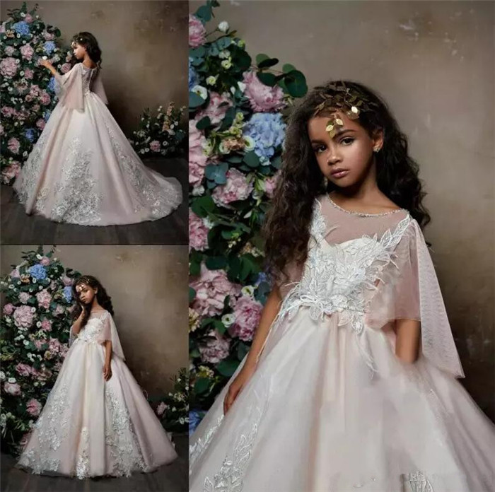 New Arrival Luxury Girls Dresses for Wedding Lace 3D Applique Half Sleeves Girls Birthday Dress Pageant Gown Party Dress green crew neck roll half sleeves mini dress