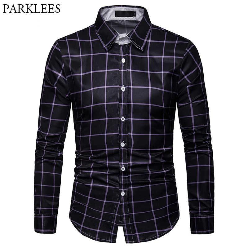 Мужские деловые рубашки в повседневном стиле, клетчатая рубашка с длинными рукавами, черная рубашка в клетку, мужские хипстерские мягкие уличные рубашки, мужские парадные рубашки