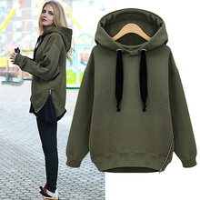 Womens Large Size Loose Hooded Warm Winter Thicked Medium Long Hoodie Coat