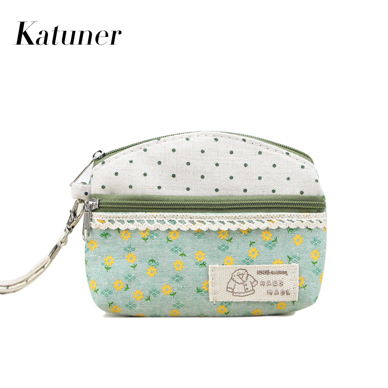 Katuner New Fresh Floral Canvas Coin Purse Women Clutch Key Card Bag Kids Coin Pouch Girls Wallets Porte Monnaie KB006 katuner new cute cartoon fruit ice sucker kids coin purse for girls wallet children women card holder porte monnaie kb032