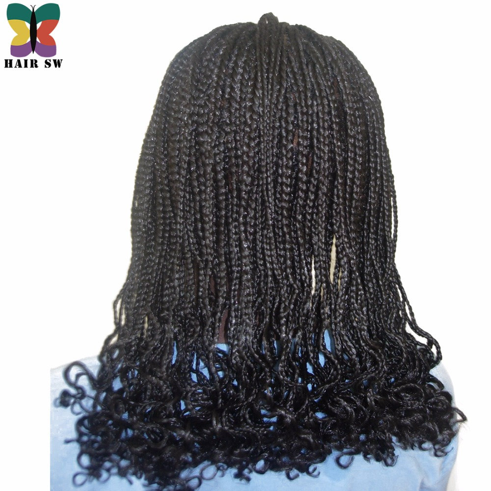 HAIR SW Long Braided Box Braids Wig With Afro Curls At End