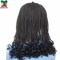 HAIR SW Long Braided Box Braids Wig With Afro Curls At End Synthetic Lace Front wigs Twist Heat Resistant For Afro Women