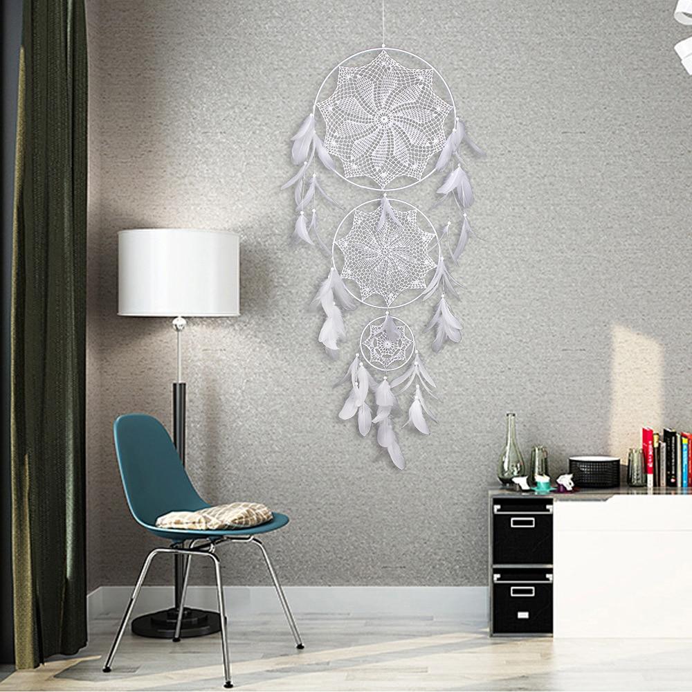 Véritable Attrapes rêves indien blanc multicolore plume capteur de rêves dreamcatcher décoration intérieur décoration murale tissé parure tissage habiller chambre à coucher