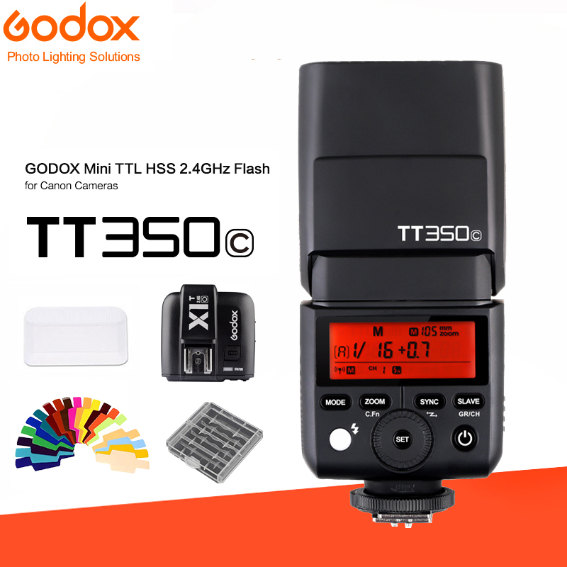 Godox tt350 TT350C Mini Flash TTL HSS 1 / 8000s 2.4G wireless with X1T-C 2.4G Wireless Flash Trigger Transmitter for Canon godox v860iic v860iin v860iis x1t c x1t n x1t s hss 1 8000s gn60 ttl flash speedlite 2 4g transmission godox softbox filter