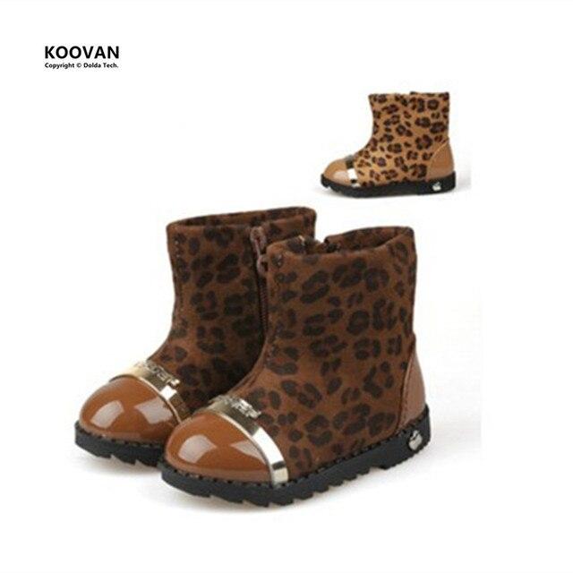 Koovan Clearance Sale 2017 Winter Models Side Zipper Soft Sole Baby Leopard Shoes Girls Boots Cotton Boots Kids Children's Snow