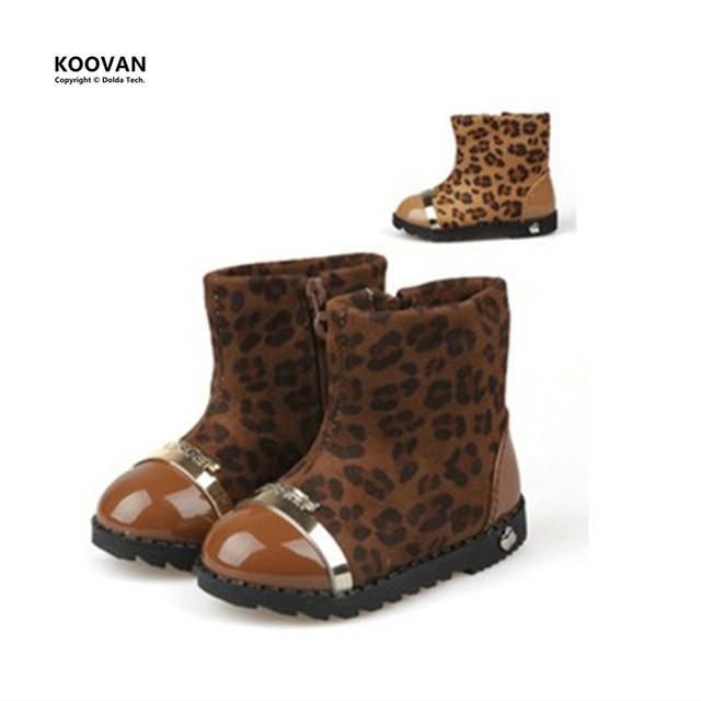 Koovan Liquidación 2017 Modelos de Invierno de la Cremallera Lateral de Suela Suave Zapatos de Bebé Del Leopardo Niñas Botas Botas de Algodón de Niños de Los Niños nieve