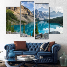 4 Pcs/Set Large Landscape rocky mountains with lake Canvas Print Painting Modern Canada Forest Wall Art Picture Home Decor(China)