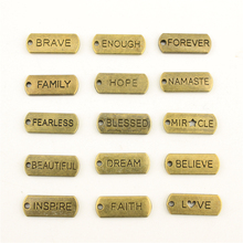 Charms For Jewelry Making Bronze Trust Hope Blessed Tag  Accessories Parts Creative Handmade Birthday Gifts