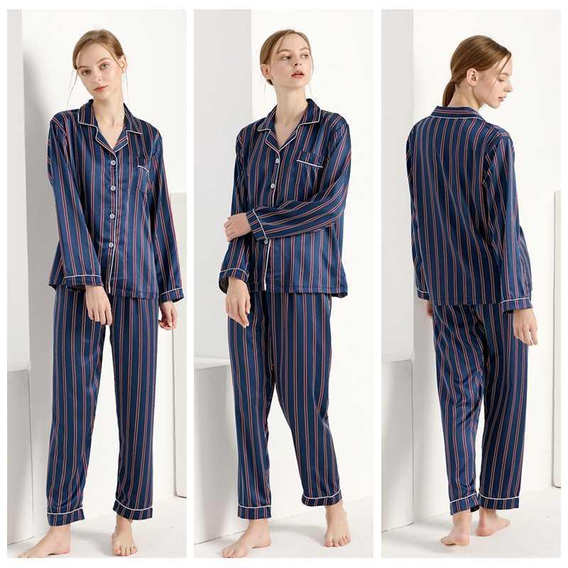 Women Sexy Silk Satin Lingerie Set Nightgown Striped Sleepwear For Ladies  Pyjama Femme Pijama Sets Nightwear 802b55ea4