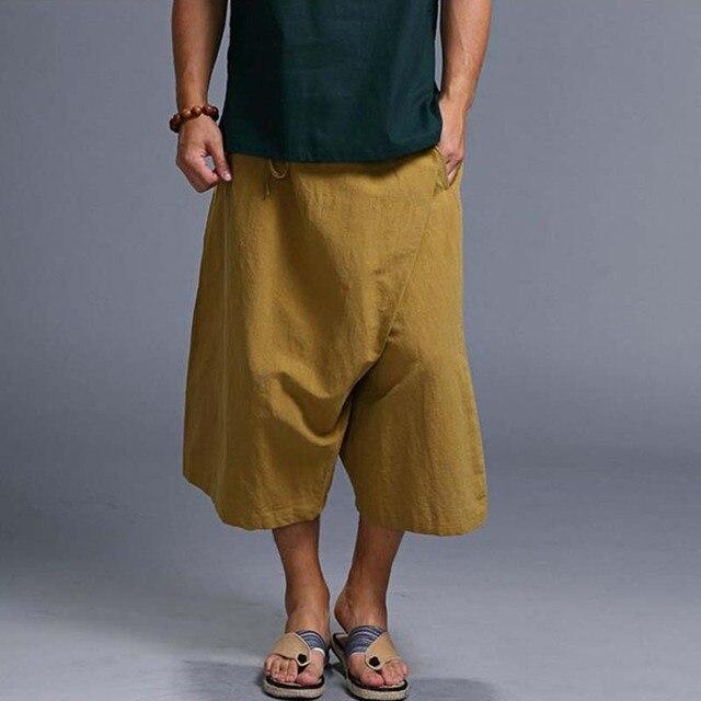 2fe9f8adf0 Moda de verano de lino Bermudas para hombres casual hip hop harem pierna  ancha playa Pantalones
