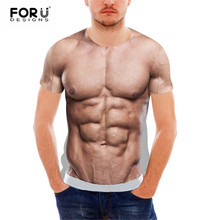 fa6f9bfff FORUDESIGNS Funny 3D Muscle Print T Shirt for Men Crossfit Male Casual Tee  Shirts Summer Style
