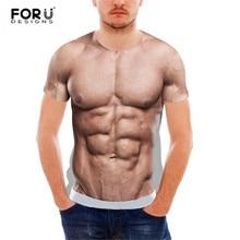 цены на FORUDESIGNS Funny 3D Muscle Print T Shirt for Men Male Casual Tee Shirts Summer Style Short Sleeve Man Top Streetwear  в интернет-магазинах