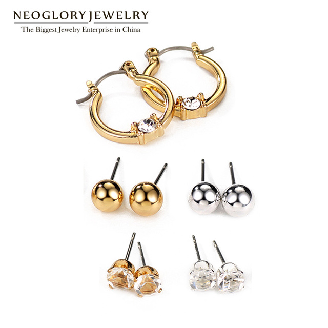 Neoglory Rhinestone Five Pairs White and Gold Stud Earrings Set for Women Teen Girls Brand Fashion Jewelry 2017 New Gifts FA