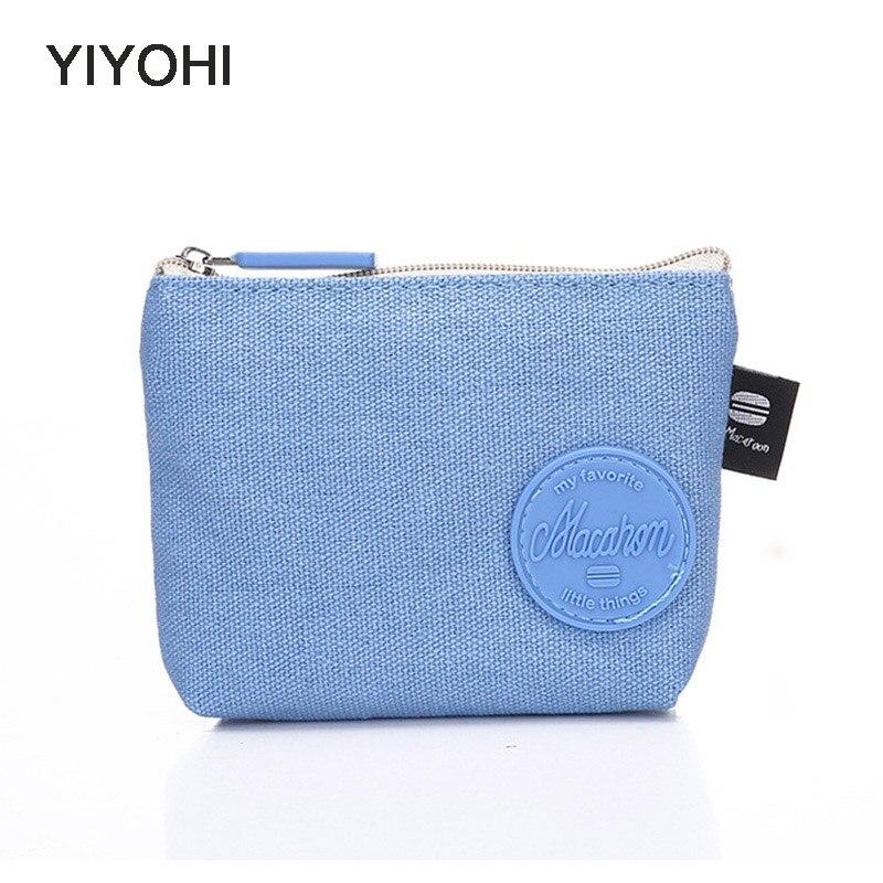YIYOHI High Quality New Canvas Macaron Color Grils Zipper Plush Square Coin Bag Purse Kawaii Children Bag Women Mini Wallets