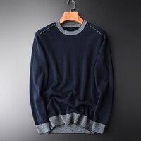 Minglu Роскошный 100% кашемировый свитер мужской зимний модный круглый воротник холодное сопротивление свитер мужской однотонный Slim Fit свитера