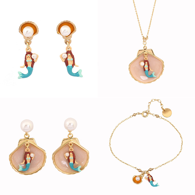 New Style Dyxytwe Enamel glaze Gold Pleated Mermaid and Shells ...