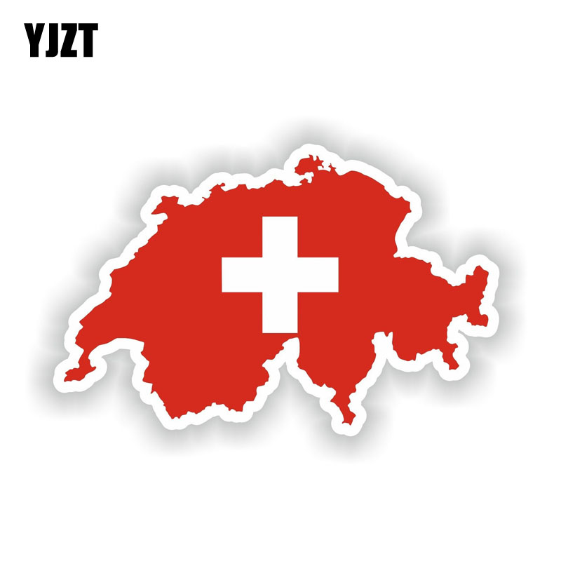 YJZT 15.1CM*9.5CM Car Accessories Switzerland Map Flag Motorcycle PVC Car Sticker Decal 6-1943