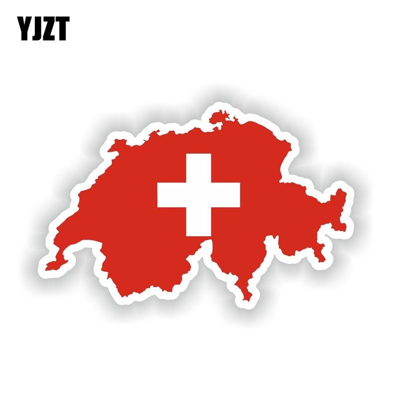 YJZT 15.1CM*9.5CM Car Accessories Switzerland Map Flag Motorcycle PVC Car Sticker Decal 6-1943(China)