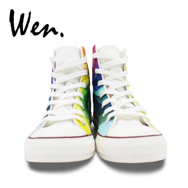 Wen Original Design Custom Hand Painted Shoes Rainbow Color Vortex High Top  Flats Lace Up Canvas Sneakers for Men Women s Gifts-in Skateboarding from  Sports ... df2097be382a