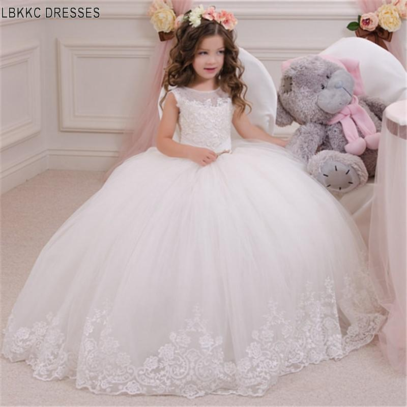 Puffy   Flower     Girl     Dresses   Graduation Gowns Children First Communion   Dresses   ForWhite Lace Tulle   Girls   Graduation   Dresses   Kids