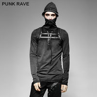 New Punk Rave Mens Black Steampunk Hooded Top Long Sleeve Winner Brand quality T Shirt Free Shipping t442