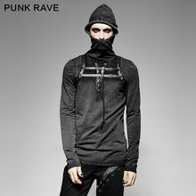 New Punk Rave Mens Black Steampunk Hooded Top Long Sleeve Winner Brand quality T Shirt Free Shipping