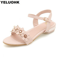 Large Size 43 Flower Flat Sandals Women Shoes Casual Female Shoes Summer Sandals Comfortable Women Summer