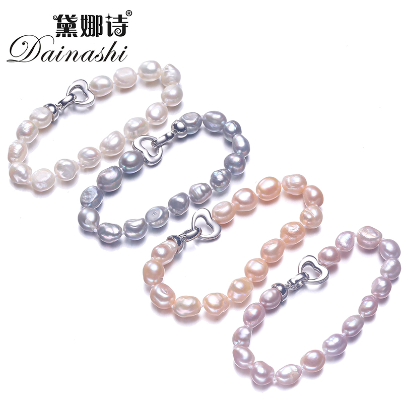 Dainashi 90% OFF White Pink Purple Gray Cultured Freshwater Pearl Jewelry Baroque Bracelet With 925 Sterling Silver Clasp 2019