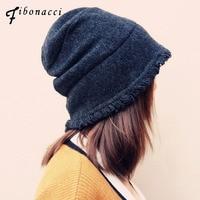 Fibonacci 2017 new teddy bear plush beanie knitted hat cute style kawaii personality warm cap autumn winter hats for women