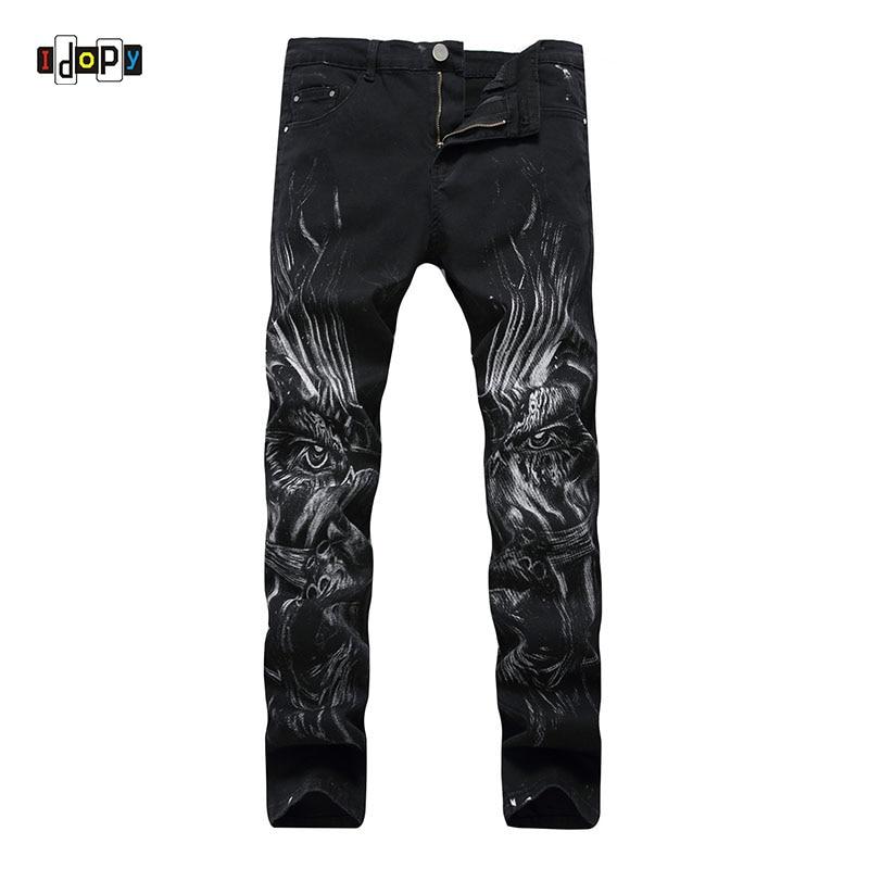 Idopy Men`s 3D Printed Jeans Printing Stylish Black Slim Fit Stretchy Denim Pants For Hipster  NightClub Singers фотообои barton wallpapers города 200 x 270 см u28102
