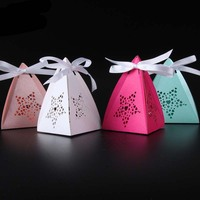 50pcs Laser Cut Hollow Star Gifts Favor Boxes Favor Boxes Baby Shower Favors with Ribbon Birthday Wedding Party Supplies