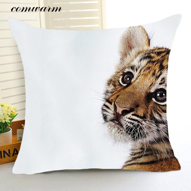 Comwarm Funny Animal World Poliestere Cuscino Feroce Leone Tigre Uccelli Colorat