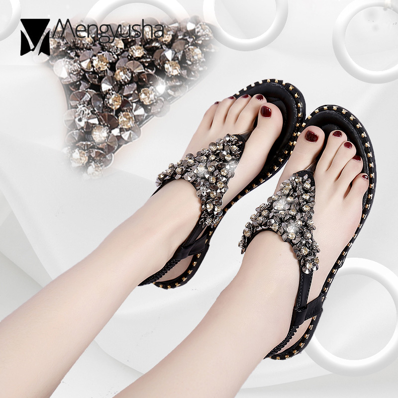 305dac59e974a bling bling thong sandals women crystal beading gladiator sandalias mujer  2018 glitter beach shoes woman rivets flip flops c496-in Women s Sandals  from ...