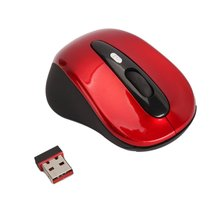 GTFS Hot New Red 2.4G Wireless 4 Optical Mouse for PC+ Mini N-A-N-O USB Receiver for PC Laptop