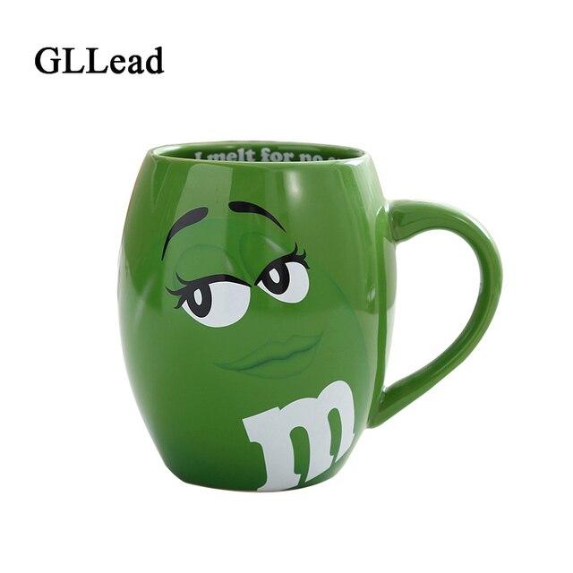 Gllead Creative M S Mm Beans Ceramic Mug Colored Cafe Oatmeal Coffee Mugs Glaze Milk Cup
