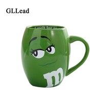 GLLead Creative M&M's MM Beans Ceramic Mug Colored Cafe Oatmeal Coffee Mugs Glaze Coffee Milk Cup Water Tea Mugs Drinkware