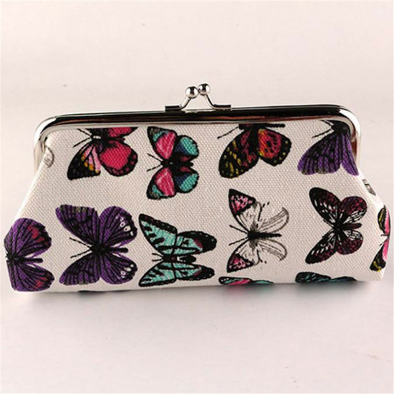 Women Cute Coin Purse Top Character Small Wallet Girls Change Pocket Pouch Hasp Keys Bag Metal Bar canvas New carteras mujer2017