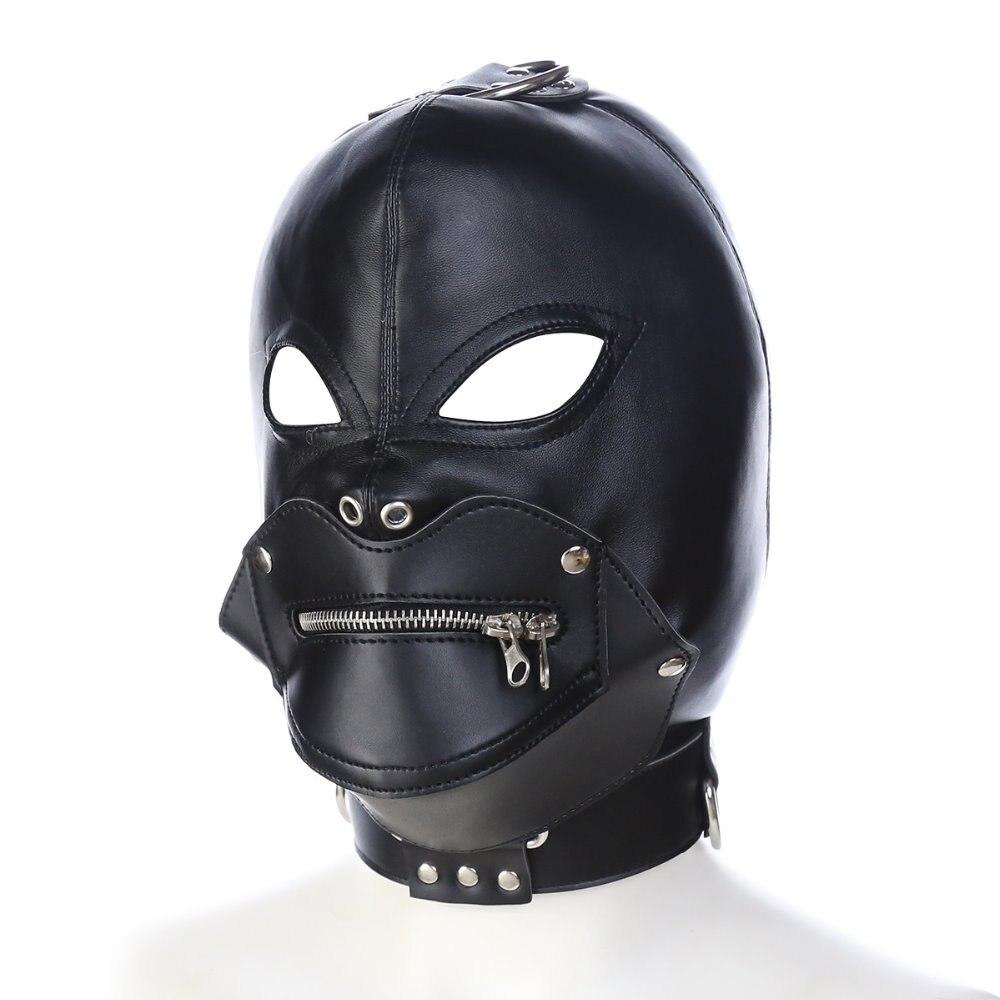 Leather bondage hood mask