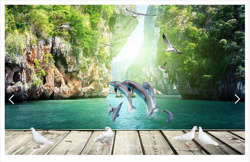 Customized 3d photo wallpaper 3d wall mural wallpaper Dolphins paddle boards and 3 d background wall living room decoration