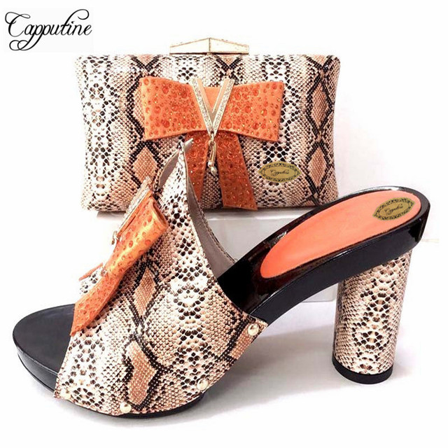 Capputine Hot Selling Summer Shoes And Bag Sets New Italian High Heels 10CM Slipper  Shoes With Matching Bag Set For Party f74da73b51b7