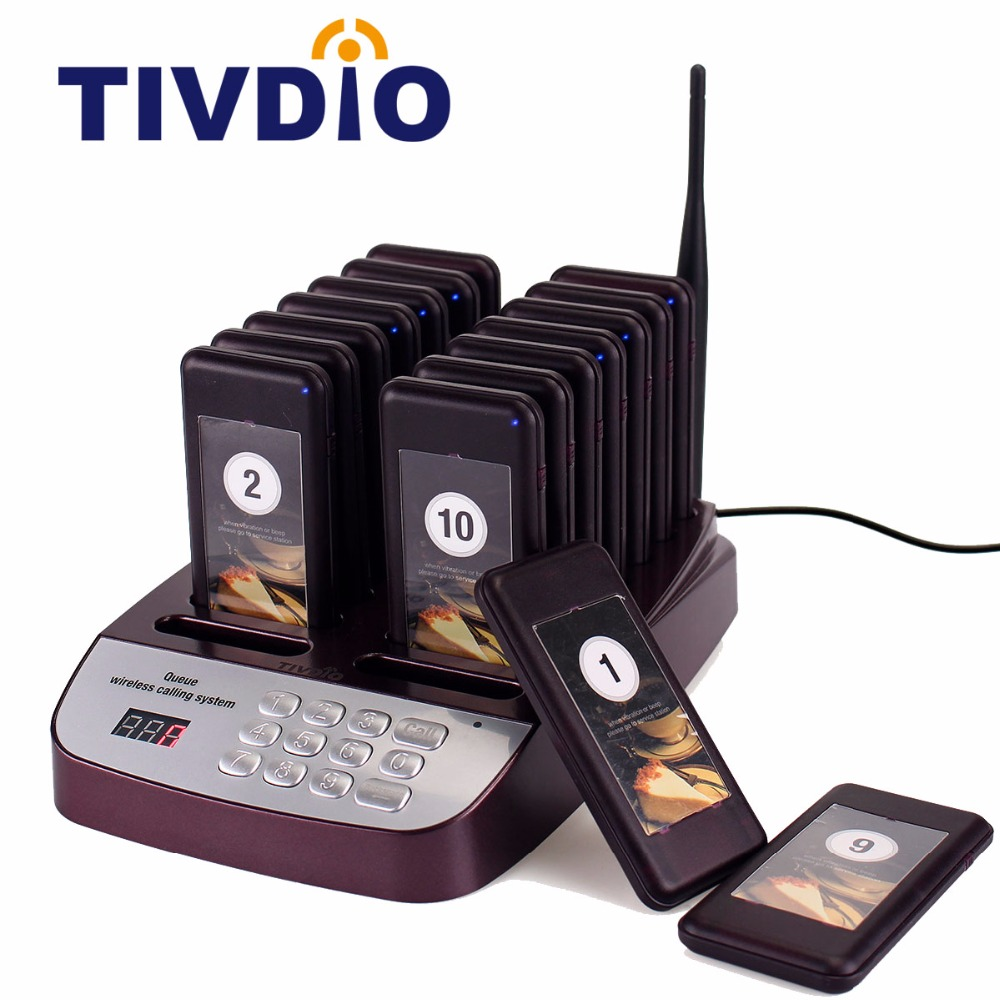 TIVDIO 16 Call Wireless Restaurant Pager Coaster Paging Queuing System With Rechargeable Battery Pager Calling System F9403 tivdio pager wireless calling system restaurant paging system 1 host display 10 table bells call button customer service f9405b