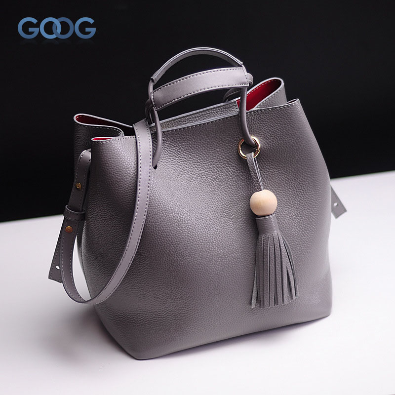 Korean version of the new first layer of buckets bag personalized fashion solid leather handbags tassel new korean version of the first layer of leather pillow bag large lychee pattern handbag shoulder messenger fashion leather leat