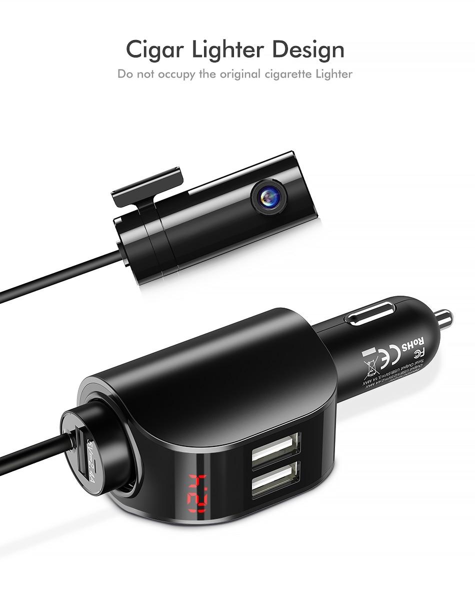 FLOVEME podwójna ładowarka samochodowa USB cyfrowy wyświetlacz zapalniczki 5 V 3.1A Tablet GPS Adapter ładowarka dla Xiaomi iPhone samochodu