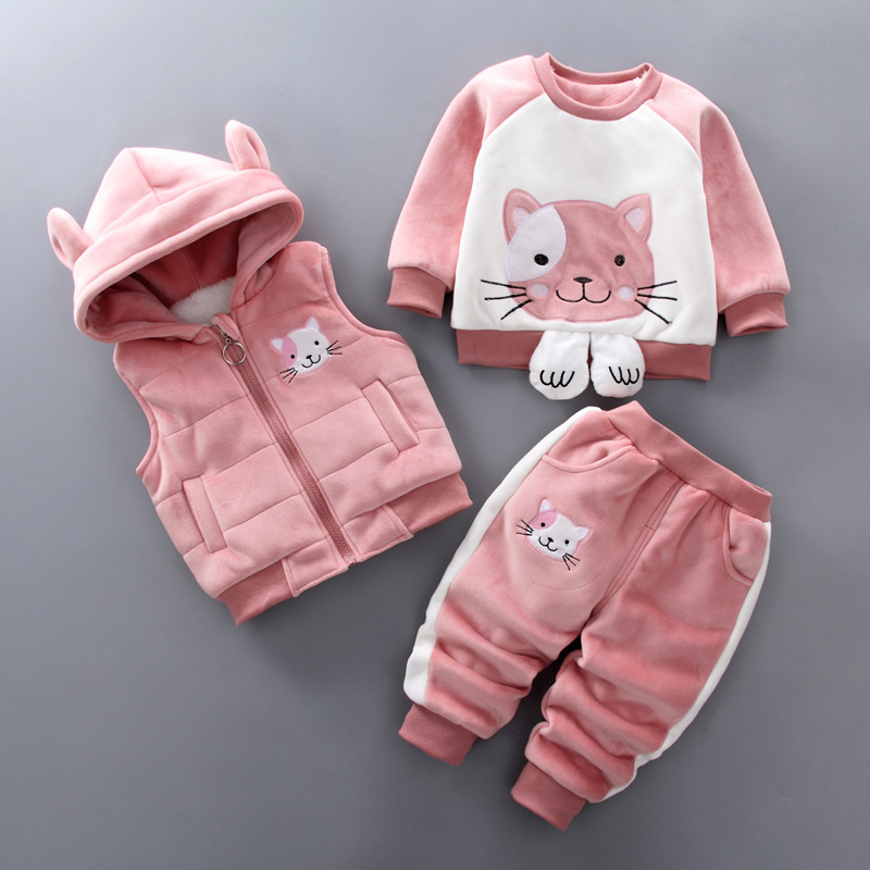 autumn winter baby girls clothing set infant children cartoon trackuist toddle boys casual fleece velvet 3pcs outfits clothes