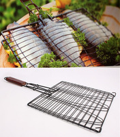 New DIY Non-stick Triple Fish Grilling Basket w/ Wood Handle Outdoor BBQ Grilling Fish Rack Barbecue Tool Fish Grill Net