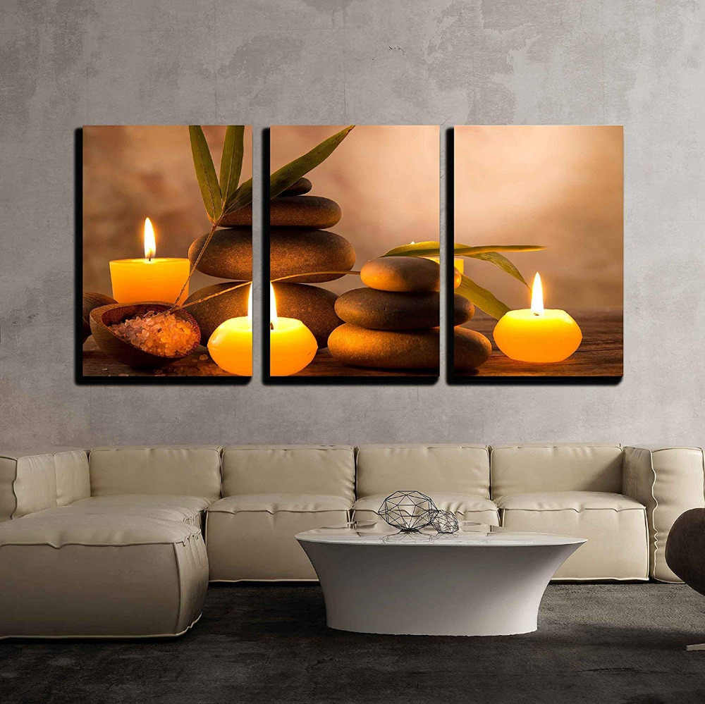 Canvas Wall Art 3 Piece- Spa Still Life with Aromatic Candles and Zen Stones Modern Home Decor Stretched and Frame Drop shipping