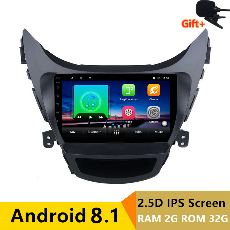 9 2 + 32G 2.5D ips Android 8,1 автомобильный DVD мультимедийный плеер gps для Hyundai Elantra MD Avante I35 2012 2017 аудио Радио Навигация