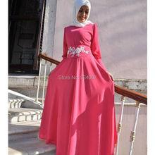 Muslim Evening Dress 2017 Chiffon A line Long Sleeves Cheap-Party-Gowns Formal Hijab Evening Dresses for Women vestido longo
