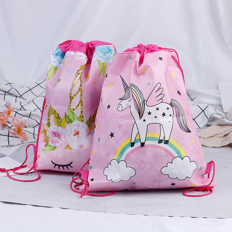Fashion Drawstring Bag 3D Printing Unicorn Drawstring Backpack Women daily Casual Girl's knapsack Drawstring Bags Kids